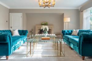 Aqua Sofas and Glass Table Living Room